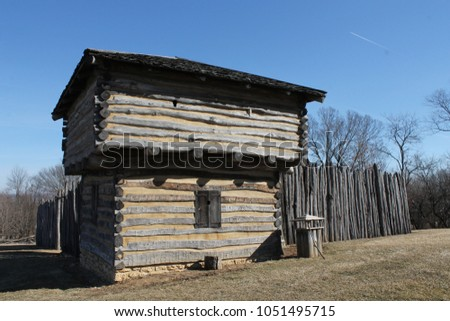 Reconstruction of Apple River Fort in Elizabeth, Illinois from 1832 Black Hawk War - Exterior View of Block House  #1051495715