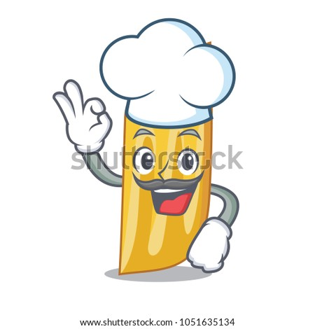 Chef penne pasta character cartoon