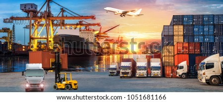 Logistics and transportation of Container Cargo ship and Cargo plane with working crane bridge in shipyard at sunrise, logistic import export and transport industry background #1051681166