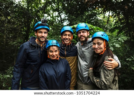 Team building outdoor in the forest #1051704224