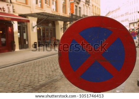 no parking or stopping sign in Brussels