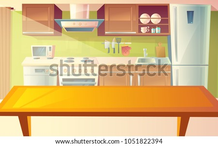 Vector cartoon illustration of cozy modern kitchen with dinner table and household appliances, fridge, stove, microwave, exhaust hood. Comfortable, clean dining-room, with tableware, interior inside Royalty-Free Stock Photo #1051822394