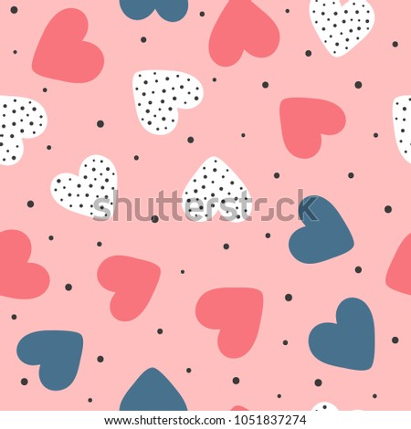 Cute seamless pattern with repeating hearts and round dots. Romantic endless print. Drawn by hand. Girly vector illustration.