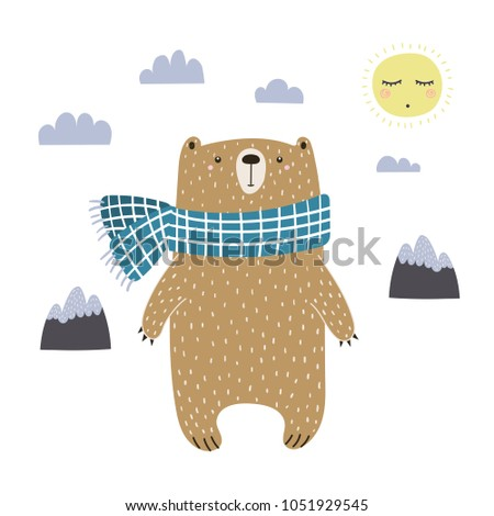 Hand drawn vector illustration of a cute funny bear in a muffler, going for a walk. Isolated objects on white background. Scandinavian style design. Concept for kids apparel, nursery print.