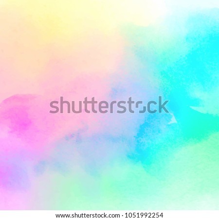 Colorful pastel drawing paper texture vector bright banner, print. Watercolor abstract wet hand drawn violet blue green yellow color liquid dye card for greeting, poster, design, art wallpaper Royalty-Free Stock Photo #1051992254