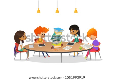 Group of school children sitting around circular table with large pile of books on it, reading and preparing for lesson. Multiracial kids at library. Modern vector illustration for banner, poster