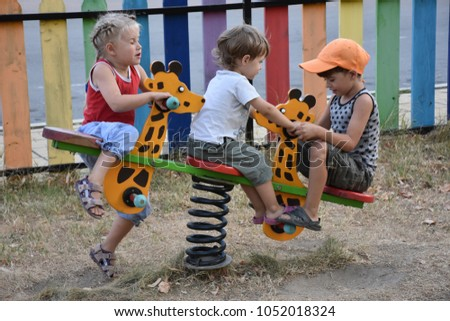 children play in the playground #1052018324