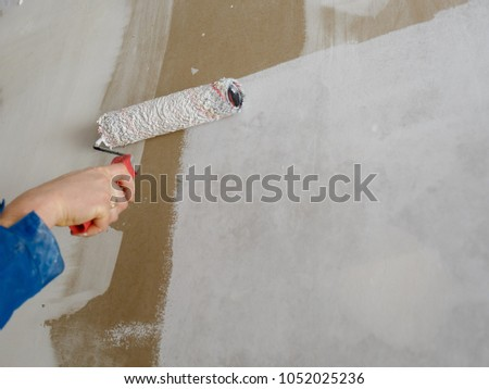 Repair, paint the wall, the man paints the wall #1052025236