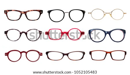 Set of glasses isolated on white background for applying on a portrait Royalty-Free Stock Photo #1052105483