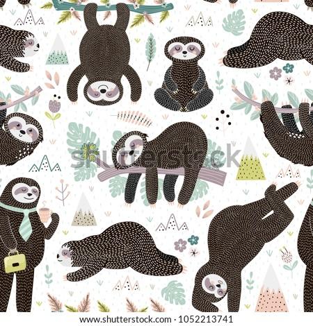Cute sleeping sloths seamless pattern. Adorable animal background. Vector illustration