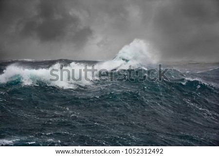 sea wave in atlantic ocean during storm Royalty-Free Stock Photo #1052312492