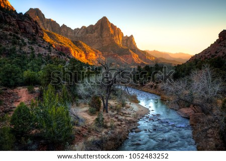 Sunset on the Watchman & The River, Zion National Park, Utah #1052483252