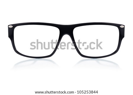 Black glasses frame on a white background with space for text #105253844