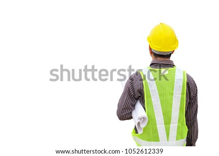 young business man professional engineer worker with blueprint and safety helmet isolated on white background #1052612339