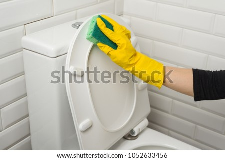 Woman is cleaning in the bathroom. Wash the toilet. #1052633456