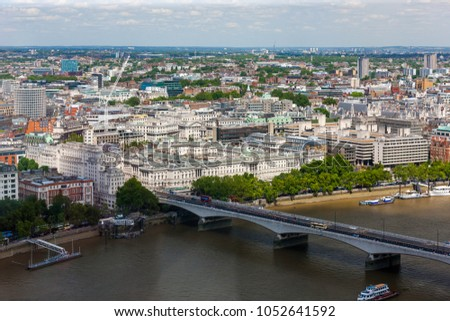 Aerial view of Waterloo Bridge across River Thames to East London, England  #1052641592
