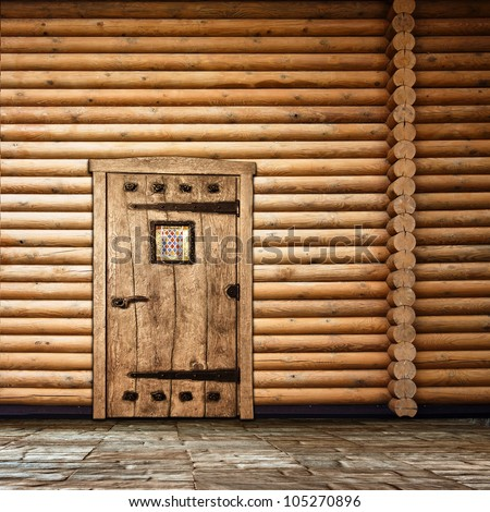 Wooden wall with old door