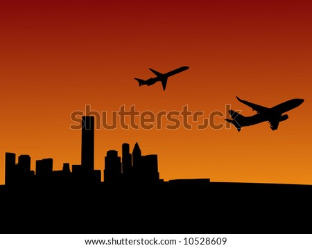 two planes leaving Houston at sunset illustration #10528609