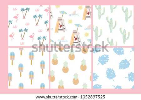Summertime wallpapers. Set of six vector seamless patterns  #1052897525