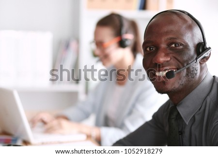 Business people working together at desk, white background #1052918279