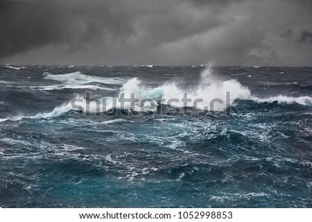 Sea wave in atlantic ocean during storm Royalty-Free Stock Photo #1052998853