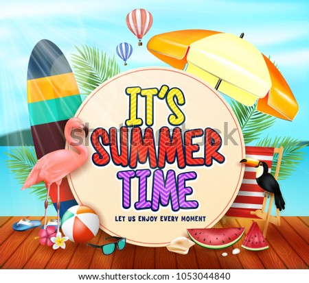 It's Summer Time with Yellowish Circle for Text with Palm Leaves, Umbrella, Surfboard, Flamingo, Toucan, Watermelon, Beachball and Hot Air Balloons Above the Wooden Pier in Beach Resort Background.  #1053044840