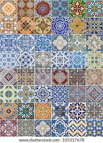 Set of 48 ceramic tiles patterns from Portugal. #105317678