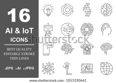 AI (artificial intelligence) icon set. Data science technology, machine learning process. Data insight, transformation, scalable, modeling API. Editable Stroke. EPS 10