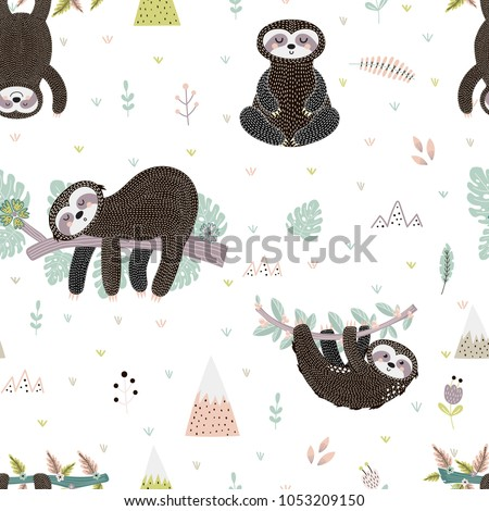 Cute sloth on the branch seamless pattern. Vector illustration
