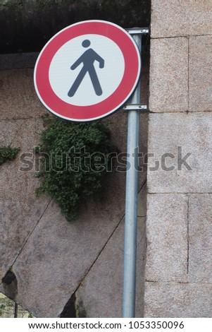 No walking traffic sign. #1053350096