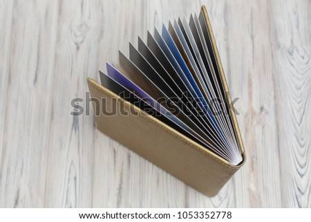 Photo album with fabric cover background for photo publishing Photo album with a hard cover photo book with  leather cover.