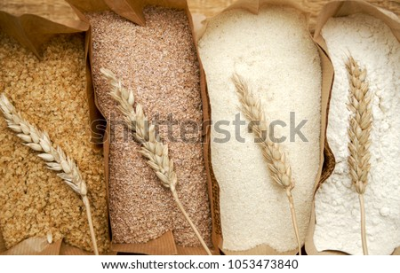 Different flour of wheat cereal in bakery bags.Texture of four wheat in mill:milled wheat sprouts, wheat bran,semolina flour,durum.Top view  #1053473840