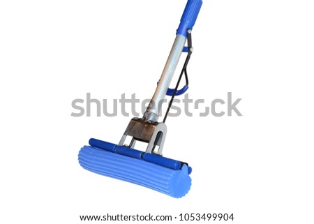 Steel MOP with the blue sponge for the floor isolated on white background #1053499904