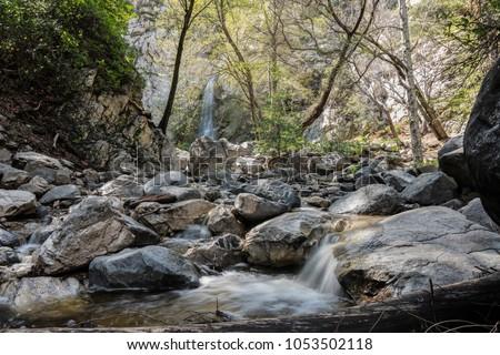 Sturtevant Falls and Santa Anita Canyon in the San Gabriel Mountains above Los Angeles and Pasadena California.   Royalty-Free Stock Photo #1053502118