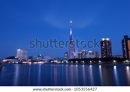 night view of western part of Fukuoka city landscapes #1053556427