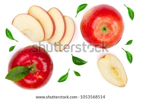 red apples with slices and leaves isolated on white background top view. Set or collection. Flat lay pattern. #1053568514
