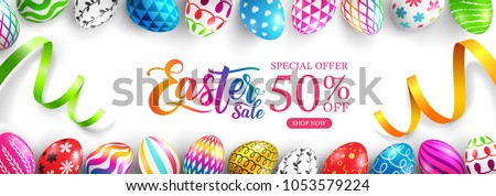"Easter Sale ""50% off"" banner template with Colorful Painted Easter Eggs and ribbon.Easter eggs with different texture on white background.Vector illustration EPS10 #1053579224"