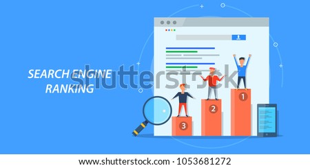 Search engine ranking - Search engine analytics - SEO success flat vector banner concept