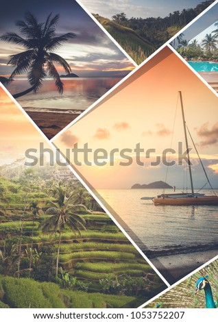 Travel collage. Can be used for cover design, brochures, flyers. With space for text Royalty-Free Stock Photo #1053752207