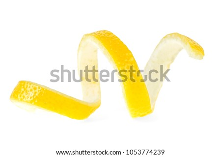 Lemon peel isolated on a white background. Healthy food. #1053774239