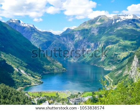 Landscape of the Geirangerfjord from above, Norway #1053838574