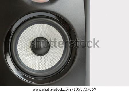 single black professional sound studio monitor on white background #1053907859