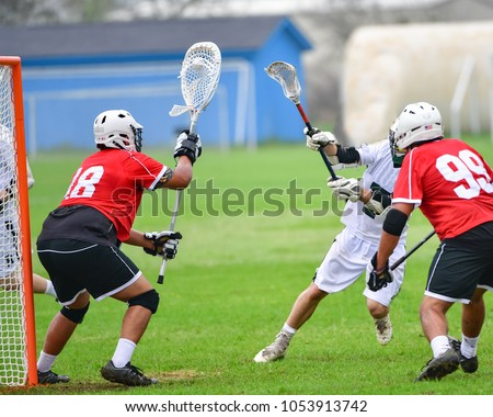 Lacrosse goalie protecting the net during a game