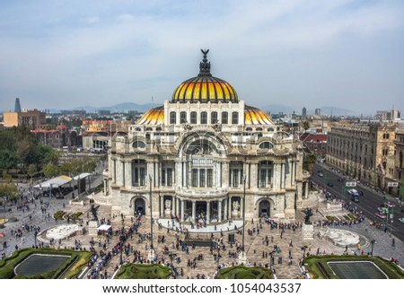 Palacio de Bellas Artes or Palace of Fine Arts, a famous theater,museum and music venue in Mexico City #1054043537