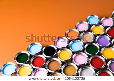 Colorful paint cans set #1054133735