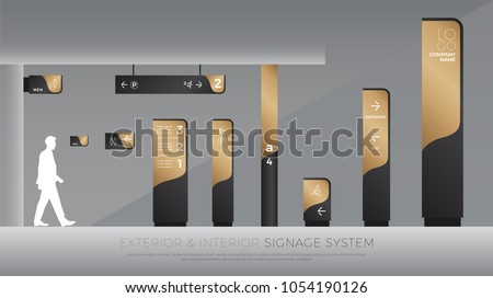 exterior and interior signage concept. direction, pole, wall mount and traffic signage system design template set. empty space for logo, text, black and gold corporate identity Royalty-Free Stock Photo #1054190126