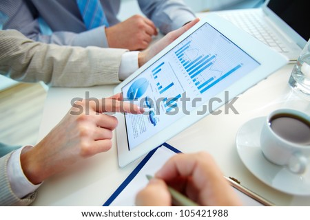 Business people meeting to discuss the situation on the market Royalty-Free Stock Photo #105421988