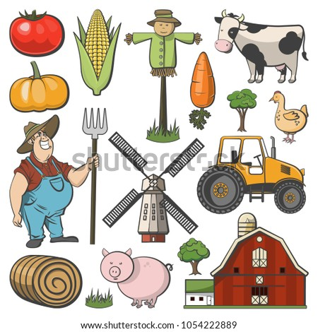 Farm decorative icon set with windmill cow pig and farmer cartoon isolated vector illustration set #1054222889