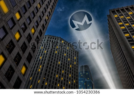 Monero cryptocurrency, anonymous payment open source privacy payment coin, superhero concept, light beam projecting Monero symbol logo on the dark night sky between city skyscrapers