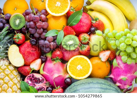Fresh fruits.Assorted fruits colorful,clean eating,Fruit background #1054279865